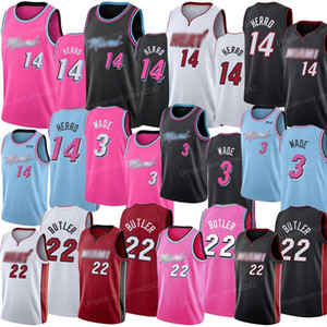 2020 New 14 Herro 22 Butler 3 Wade Billige Basketball-Jersey Miami Hot Sell Wärme genähtes Jersey High Quality
