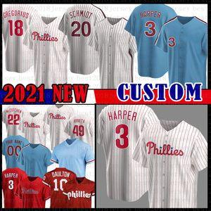 Bryce Philadelphia Harper Jersey 3 17 Rhys Hoskins 27 Aaron Nola Majestuoso Base Cool 20 Mike Schmidt Baseball Jersey