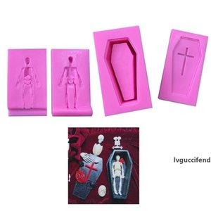 Ataúd 3D esqueleto de silicona del molde Jabón hecho en casa herramientas de bricolaje molde de la torta de chocolate de Halloween Juego de herramientas de cocina 08