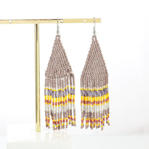 Tassel Earring Bohemian Vintage Earrings Ladies Fashion Bohemia Earings Beaded Handmade Female Earrings Boho Women Ear Studs sea HHA3501
