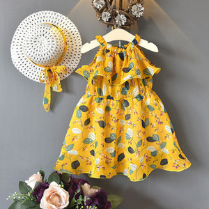 Summer New Children's Dress Girls Leaves Chiffon Sleeveless Holiday Bohemian Dress with Hat 2 Pieces
