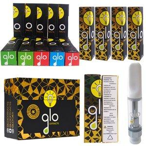 Cartuchos Vape nuevos Glo 0,8 ml 1 ml de cerámica de la bobina 510 de cartucho GLO Extractos Vaciar el contenido de Vape Carros de embalaje Dab pluma vaporizador atomizador caja al por menor
