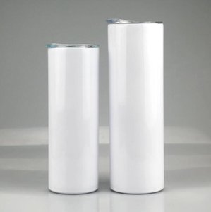 20oz 30oz Sublimation Straight Skinny Tumbler 20oz 30oz Stainless steel blank white skinny cup with lid straw Cylinder water bottle coffeefh