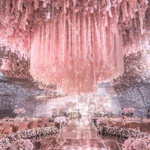 1m de longs fleurs de soie artificielle Wisteria vigne rotin 20 couleurs fausses table centrales de table de mariage décoration de mariage fleur mur de jardin DHD3459