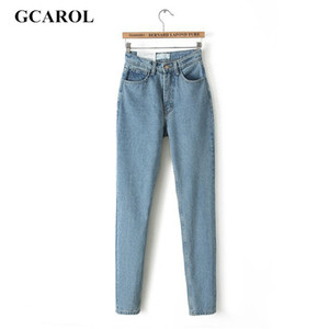 GCAROL Euro Style Classic Women High Waist Denim Jeans Vintage Slim Mom Style Pencil Jeans High Quality Denim Pants For 4 Season 201008