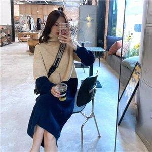 JXMYY 2020MID uzunlukta diz boyu örme yüksek boyunlu elbise palto ve gevşek ve kalın renk blok kazak etek # ih0s