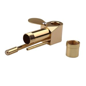 DHL Freeshipping latón Proto Pipe Deluxe Gold tubo del metal 86mm Mini portátil Dab quemador de aceite Mano Rig fumadores