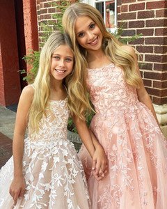 Lovely Beaded A Line Lace Flower Girl Dresses For Wedding Toddler Pageant Gowns Sweep Train Tulle Kids Prom Dress