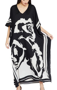 YouKD Wemon's Summer Long Kaftan Shoulderless Dress V-Neck Garment Bohemian Swimsuit Beach Dress Cover Up Robes