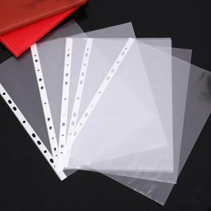 지갑 소매 11holes 느슨한 잎 상자를 제출 100PCS / 세트 A4 파일 주최자 명확한 플라스틱 구멍 뚫은 포켓 문서 가방 폴더