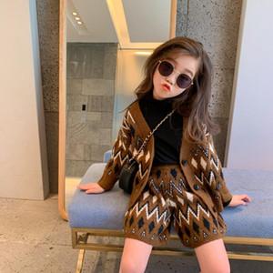Dibeberabbit Gestrickte Kinder Strickjacke Set Woolen Handmade Baby Mädchen Kleidung Set Herbst Teenager Pullover Top mit Shorts Oberbekleidung