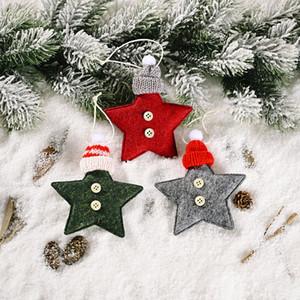 fournitures de décoration de Noël bonnet tricoté étoile à cinq branches petit pendentif créatif nouveau pendentif arbre rouge à cinq étoiles T3I51353