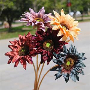 "Fake Single Stem Sunflower 21"" Length Simulation Autumn Sun Flower for Wedding Home Decorative Artificial Flowers"