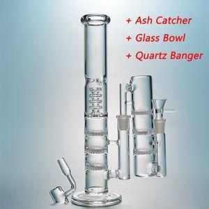 Tubo reto Vidro de vidro bongs triplo percolador bong tubulações de água birdcage com caticeiro de cinzas digita plataformas de 18mm