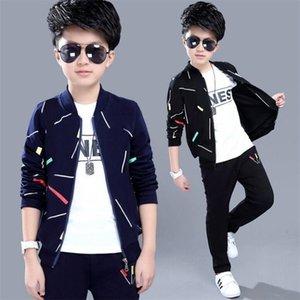Primavera de meninos e outono de duas peças, Big's Children's Cardigan Jacket Casual Esportes Coreano Children Roupas 201127