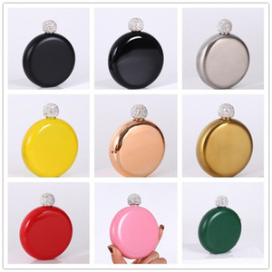 9 Styles Creative Round Hip Flasks Stainless Steel Mini Colorful Flagon Portable Outdoor Lady Whiskey Wine Pot