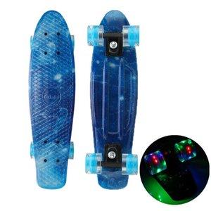 """22 """"Skate Light Light Mini Cruiser Skate Plástico Galáxia Starry Sky Impresso Longboard Outdoor Sport Street Novo"""