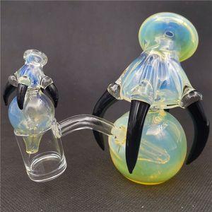 Dragon griffe orb bong perle avec 10mm 45 degrés femelle joint noir griffes d'eau verre eau bongs tuyaux d'eau bubblers