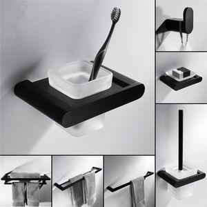 Simples Modern Bathroom Acessórios Classic Black Matte Casa de banho Casa de Banho Hardware Set Brass Solid Badkamer Accesoires sqcVAW