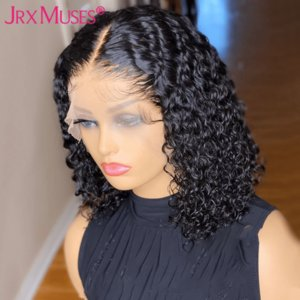 Short Bob Curly Lace Front Human Hair Wigs 4x4 Closure Wig Remy Pixie Cut Natural Water Wave 13x4 Frontal Wigs Pre Plucked
