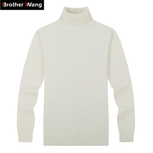 Brother Wang бренд мужские повседневные пуловеры свитер классический стиль 100% хлопок тонкий бизнес водолазка свитер мужской черный белый