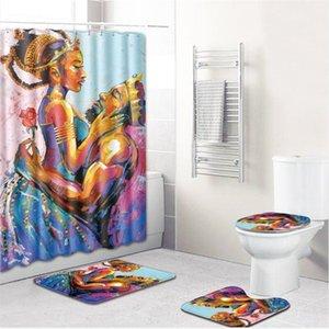 Couples Home 4Pcs Anti Slip Toilet Carpet Bathroom Set Flannel Seat Cover shower curtains four Pieces Bath Mat decor