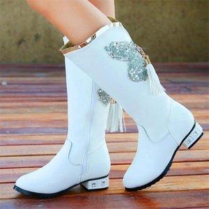 Kızlar Orta Tüp Çizme Prenses Sürümü Çocuk Orta buzağı Moda Boots For Snow 2020 Püskül Pullu Kış Çocuk Ayakkabıları