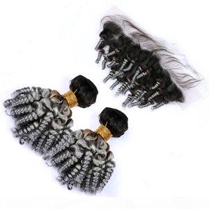 Silbergrau Ombre Funmi lockiges peruanisches menschliches haar 2bundles und frontal # 1b grau ombre tante funmi haarfunktionen mit spitze frontal schließung 13x4