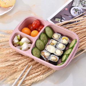 Lunch Box Grid Wheat Straw Bento Bagsradable Transparent Lid Food Container For Work Travel Portable Student Lunch Boxes Containers OWD2071