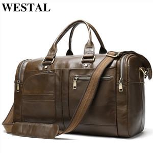 Voyage en cuir week-end vingate nuit hommes duffle véritables Westal sac bagages affaires de C1008