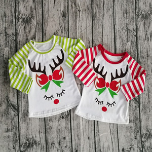 Christmas Baby Girls Unicorn Horn T-shirts 2020 Autumn Striped Long Sleeve Shirt Tops Cotton INS Children Tees Kids Clothing M3062