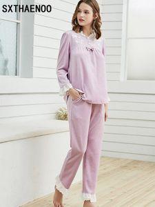 Sxthaenoo 두꺼운 밝은 벨벳 여성 잠옷 가을 빈티지 달콤한 여성 플란넬 잠옷 긴 소매 Sleepwear1 세트