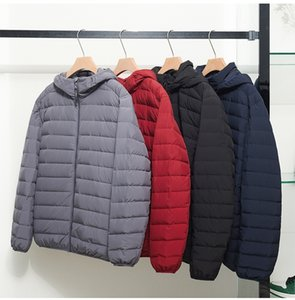 2021 New 6xl 7xl Plus Matt Fabric Ultra Light Men Hooded Winter Men's Down Jacket Hat Detachable Feather Coat X6ee