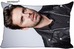Sebastian Stan personnalisé Taie d'oreiller rectangle couverture Zippered cas Taille 45x35cm, 40x60cm, 45x75cm, 50X75cmTwo côtés Taie gris PoXe #