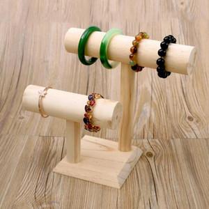 Portable Wood Bracelet Bangle Necklace Jewelry Display Stand Holder Watch Jewelry Organizer Detachable T-Bar Rack