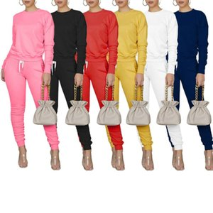Sport Clothing Suit Casual Long Sleeve Sweatshirt Top And Stacked Leggings Pants Trousers 2 Piece Outfits For Women Tracksuit