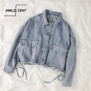 HWLZLTZHT Spring Oversize Coat Female Big Pocket Women's Denim Jacket Cotton Loose Women's Jeans Jacket Turn-down Collar Outwear