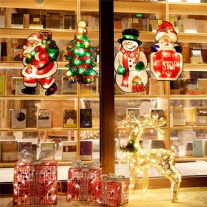 Christmas Suction Cup Window Ornament Merry Christmas Motif Decorative Atmosphere Scene Window Showcase LED Sucker Lamp OWE2273