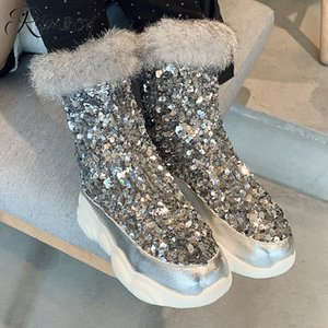 Rimocy Fashion Womens Glitter Boots Winter Fur Collar Warm Plush Sequins Silver Snow Boots Women Zip Up Soft Platform Ankle Boot 201020