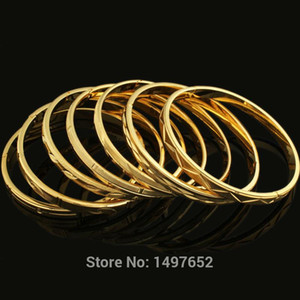 Adixyn New Arrival Dubai Gold Bangle18k Gold Color Wide 6MM Bracelet African European Ethiopia Jewelry Bangles
