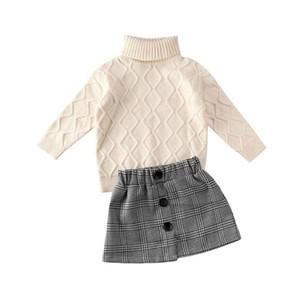 의류 세트 3-7years 키즈 아기 소녀 겨울 옷 Turtleneck 니트 스웨터 + 미니 스커트 복장 세트