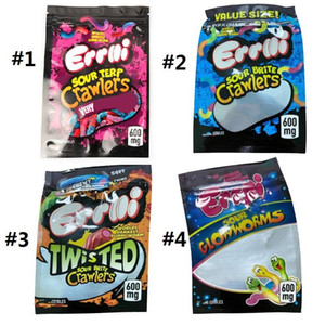 Errlli chaude Gummi Emballage comestible 600mg Terp Terp Crawlers Signes Sacs Sacs Sacs Beadheads Skitles Vide Candy MyLar Sacs pour fleur d'herbe sèche