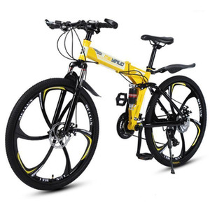 Bikes 26 Inch High Carbon Steel Mountain Bike 21 Speed Lightweight Folding Road Bicycle Adult Student Front And Rear Disc Brakes1