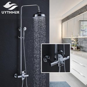 Recém-chuvas 8 polegadas Chuveiro Bath Shower Mixer torneira do chuveiro Set Faucet Com Mão Chrome Polido bbyCfv bwkf