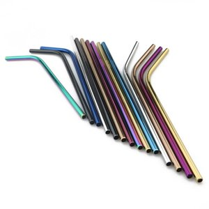 4pcs 6*215mm 304 Stainless Steel Straw Bent And Straight Reusable Colorful Straw Drinking Straws Metal Straw Cleaner Brush Bar Drinking Tool