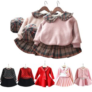 baby girls clothes Europe and America Korean winter clothing 1-5 year female baby plus velvet sweater pleated skirt fashion 3pcs 201023