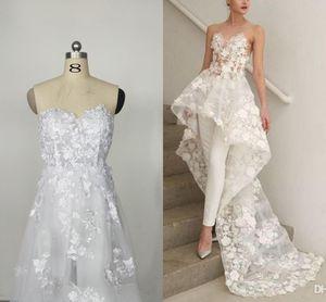 2021 Modest Jumpsuit Wedding Dresses Lace Applique Sweetheart Neckline Sweep Train Overskirt Wedding Bridal Gown vestido de novia