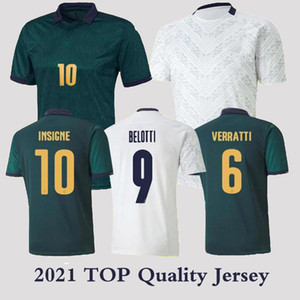 إيطاليا 2021 رجل كأس أوروبا لكرة القدم جيرسي الأخضر الداكن الثالث Chiellini El Shaarawy Bonucci Insigne Bernardeschi الأبيض قمصان كرة القدم