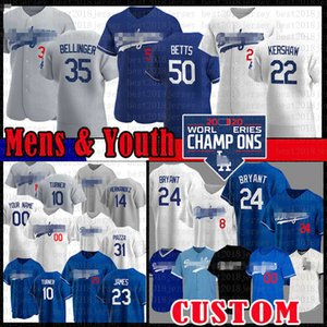 Mookie sur mesure Betts Cody Bellinger Clayton Kershaw Jersey Baseball Dodgers Justin Turner Los Bryant Hernandez Corey Seager Angeles Youth Men