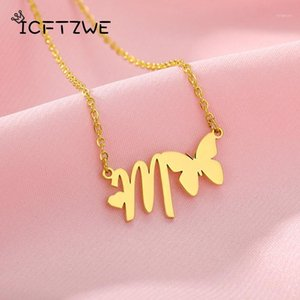 Cute A-Z Initial Letter Butterfly Necklaces For Women Stainless Steel Gold Chain Alphabet Butterfly Necklace Jewelry Fairy Gift1